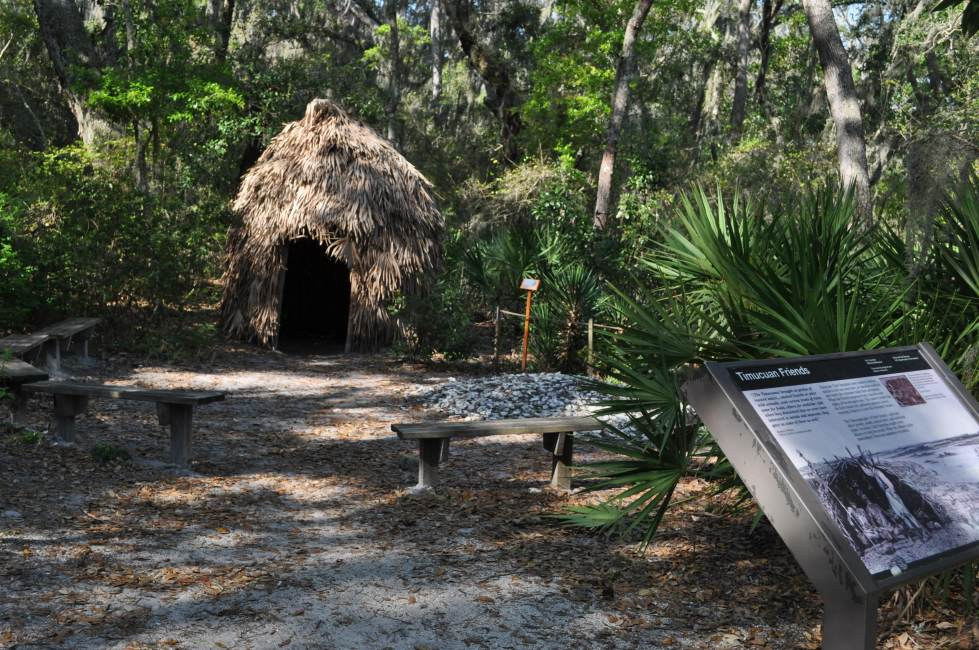 grass hut at Timucuan Preserve