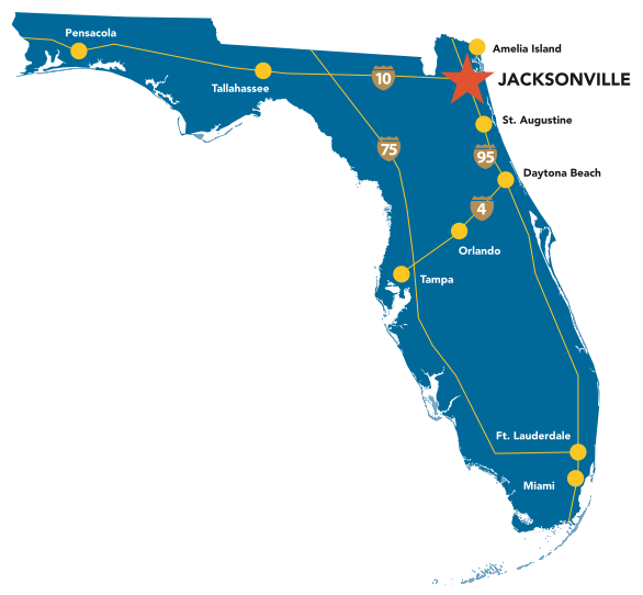 Jacksonville is located in the North East corner of Florida.